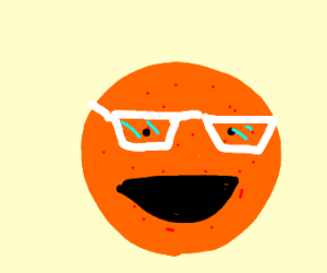 An orange wearing white glasses