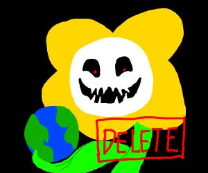 Flowey deletes the world