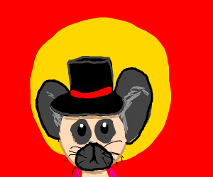 pug dog/mouse-with a top hat
