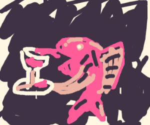 Singing fish drinking wine