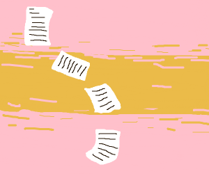 papers falling at sunset