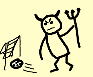 Demon playing soccer