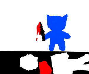 Blue cat with knife has killed Steve