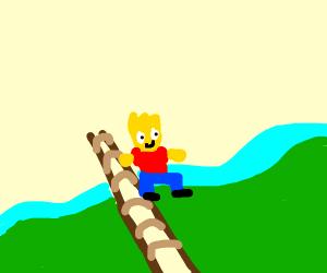 Bart jumping over a Bridge