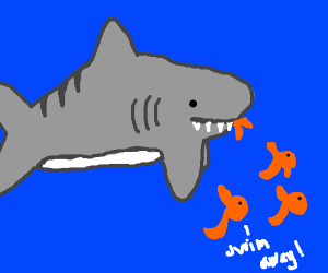 Shark eating a small fish