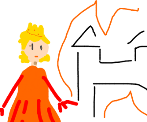 girl watches castle burn
