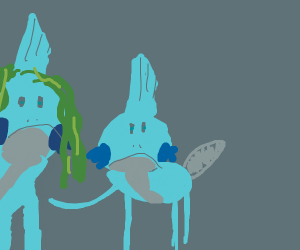 Mudkip pokes his mother