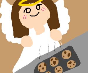 Angel makes cookies