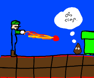 Luigi Shoots A Fireball At The Poop Emoji