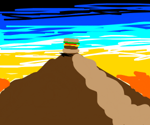 A hamburger on top of a mountain at sunrise
