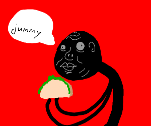 ugly Stickman eating taco says jummy
