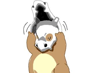 Cubone takes off the skull (pkmn)