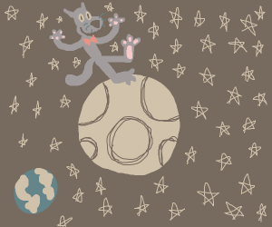 Grey cat in red bowtie on the moon