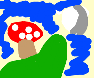 backlit mushrooms on a hill at night
