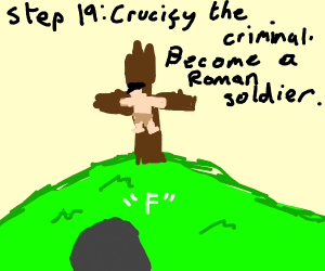Step 18: Erect a cross.
