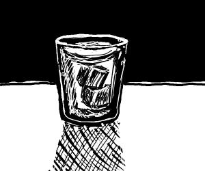 Glass of ice watee