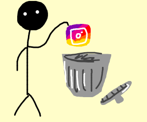 Dude throws instagram in the trash