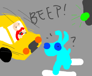 Blue dog about to die because of a car