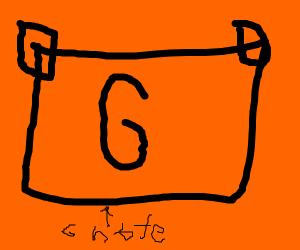 G note on orange background