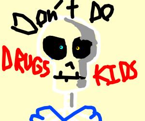 Skeleton tells kids to not use drugs