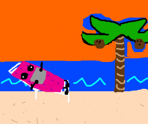 Pink sponge on vacation