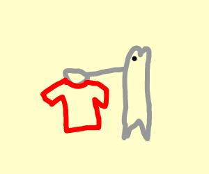 Minnow holding Shirt