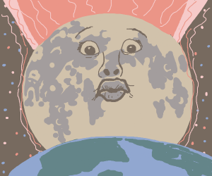 Moon moments before collision with Earth