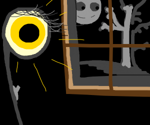 an eye lamp has a switch, moon glares at tree