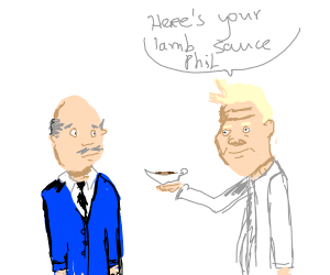 Gordon Ramsey delivers lamb sauce to Dr. Phil