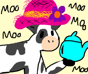 An oldies cow with a hat