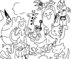 A bunch of pokemon