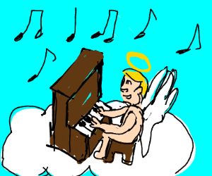 happy naked angel playing piano on a cloud