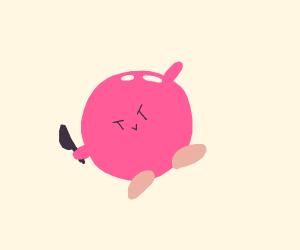 Kirby has a knife.