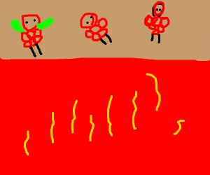 Raspberries crossing over Lava
