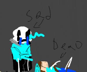 sans cries over dead minecraft steve