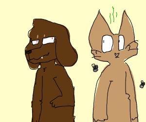 Evil dog faces stink cat