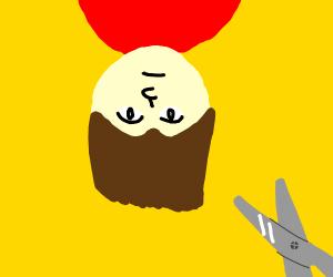 Cutting man's hair upside down