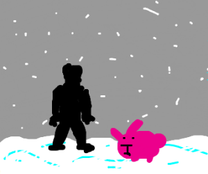 Snowy day w/ pink rabbit and silhouette