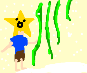 Starman swinging on vines in the winter