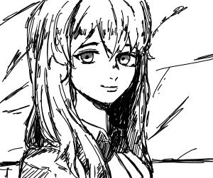 Anime girl smiles as giant poster falls