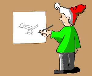 Guy with red and white hair draws a bird