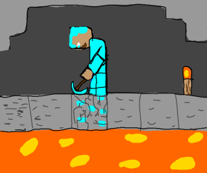 Mining into lava