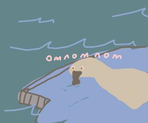 Seal eats a fish