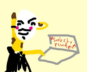 Hacker giraffe supports pewdiepie