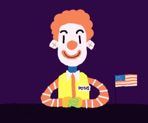 Mc'Donalds clown is president now