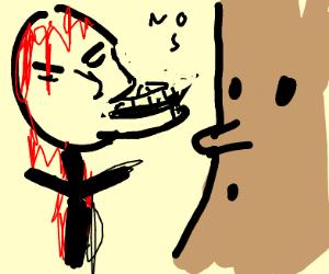 "Angry,Bleeding Stickman tells WispyWoods ""No"""