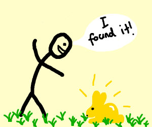 man founds the golden bunny