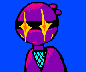 Purple ninja with glowing eyes