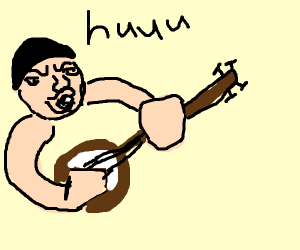 man playing his long hard banjo