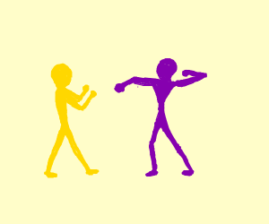purple and yellow guys fight